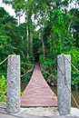 Old suspension bridge across the river in forest Stock Photos