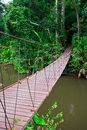 Old suspension bridge across the river in forest Royalty Free Stock Photography