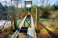 Old Swinging Bridge Siuslaw River Royalty Free Stock Photo