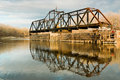 Old Swinging Train Bridge Royalty Free Stock Image
