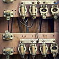 Old switchboard with fuses in the background Stock Images