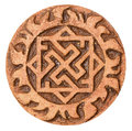 Old symbol on terracotta amulet isolated white Stock Photography