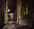 Old Tallinn, Estonia. Dark street at night Royalty Free Stock Photo