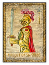 Old tarot cards. Full deck. Knight of Swords Royalty Free Stock Photo