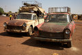 Old taxi in mali over loaded taxis Stock Image
