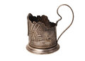 Old tea cup holder on the white Royalty Free Stock Image