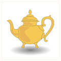 Old teapot yellow color on a white background.