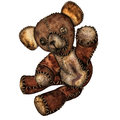 Old teddy bear with button eyes d rendering of an as illustration Stock Photo