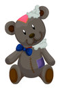 Old teddy bear with patches illustration Stock Photo