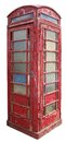 Old telephone box weathered traditional british isolated on white background Stock Image