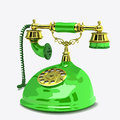 Old telephone green fashioned phone on white background Stock Photo