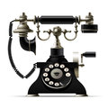 Old telephone on white. Retro rotary dial black phone
