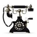 Old telephone on white. Retro rotary dial black phone Royalty Free Stock Photo