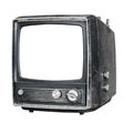 Old television isolated trlrvision on white background Royalty Free Stock Photography