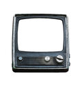 Old television isolated trlrvision on white background Royalty Free Stock Images