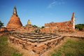Old temple ayutthaya thailand historical park Royalty Free Stock Image