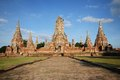 Old temple thailand wat chaiwatthanaram Stock Image