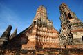 Old temple thailand wat chaiwatthanaram Royalty Free Stock Images