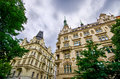 Old tenement house with dramatic sky in prague czech republic Stock Photography