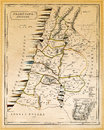 Ancient Palestine Map Printed 1845 Royalty Free Stock Photo
