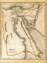 An old th century map engraved and printed in england in depicting egypt jerusalem in the north down to the border with nubia in Royalty Free Stock Image