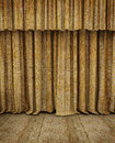 Old theater empty stage an of an theather with wooden floor and sackcloth curtains Royalty Free Stock Images