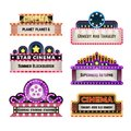 Old theater movie neo light signboards in 1930s retro style. Blank cinema and casino vector banners Royalty Free Stock Photo
