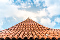 Old tiled roof with sky in background. Royalty Free Stock Photo