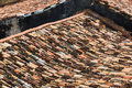Old tiled roofs in the city Stock Images