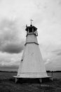 Old timber lighthouse vadstena sweden an by the lake vattern Stock Photography