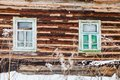 Old timbered wall of rustic house Royalty Free Stock Photos