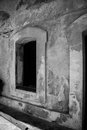 Old time stucco window b w black and white of an constructed of block and in the fort el morro in san juan puerto rico Stock Images