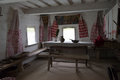 Old times slavonic farmhouse interior of an country house table and icons on walls Stock Images