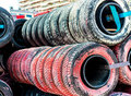 Old tires background black and red Royalty Free Stock Photo