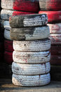 Old tires stack paint red and white Royalty Free Stock Photo