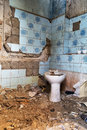 Old toilet in an abandoned devastated house Stock Images