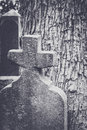 Old Tombstone with Cross Royalty Free Stock Photo