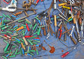 Old tools at flea markets many of the and the keys to the market is waiting for customers Royalty Free Stock Image