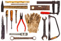 Old tools isolated on white various craftsman background Royalty Free Stock Photos