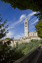 Old tower in the tuscany town of assisi view from a balcony italy over an church Stock Photos