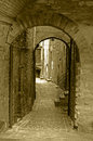 Old town alley antique sepia in Royalty Free Stock Photos