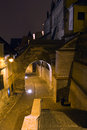 Old town alley and walls at night Stock Photography