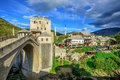 Old town and bridge in Mostar, Bosnia and Herzegovina Royalty Free Stock Photo