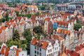 Old town buildings in the centre of gdansk poland architecture aerial view Royalty Free Stock Image