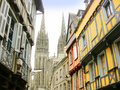Old town and cathedral the city of quimper finistere brittany france Royalty Free Stock Images