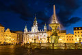 Old town of Ceske Budejovice at night, Budweis, Budvar, S Royalty Free Stock Photo