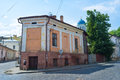 The old town chernivtsi ukraine june residential house on corner of ruska street with dome of st michael s cathedral on Royalty Free Stock Image