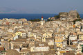 Old town of corfu island in greece view from the castle Stock Photo