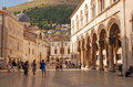 Old town of dubrovnik croatia july tourists walking on main street stradun in many historic buildings and Royalty Free Stock Photography