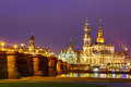 Old Town and Elba at night in Dresden, Germany Royalty Free Stock Photo